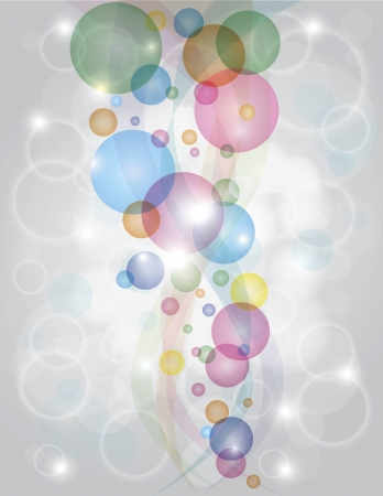 Colorful Bubbles Bokeh Abstract Background with Swirls and Sparkles Illustration Ilustração