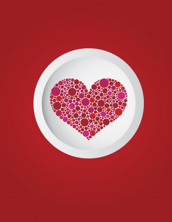 Happy Valentines Day Polka Dots Heart in Circle on Red Background Illustration