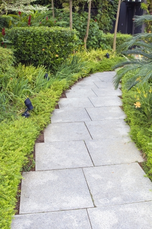 hardscape: Granite Stone Square Pavers Garden Path with Trees Shrubs and Plants