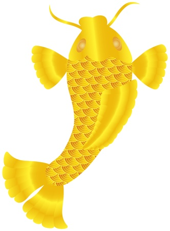 Japanese Koi Fish or Chinese Carp with Gold Scales and Fins Illustration Isolated on White Background