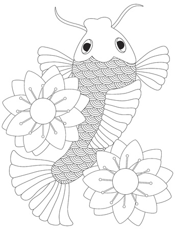 Japanese Koi Fish or Chinese Carp with Lotus Flower Line Art  Illustration Isolated on White Background Ilustracja