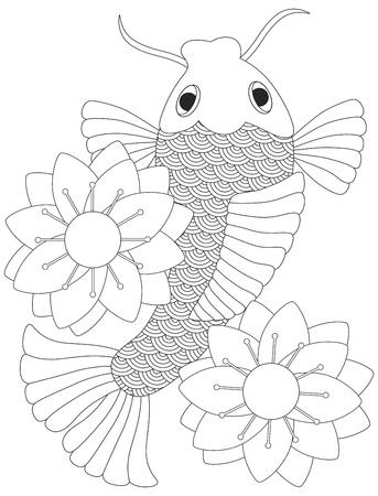 Peces Koi japonés o carpa china con Lotus Flower Ilustraciones línea aislada en el fondo blanco