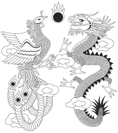 mythical phoenix bird: Dragon and Phoenix Symbols for Chinese Wedding with Flaming Ball Clouds Outline Illustration Isolated on White Background