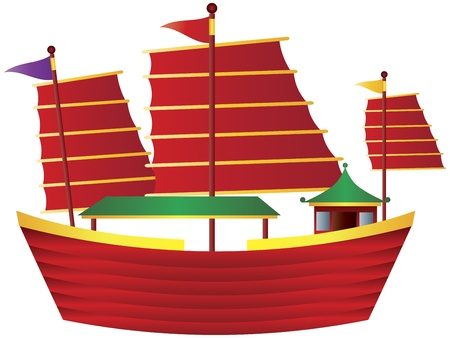junk: Chinese Junk Colorful Sail Boat Illustration Isolated on White Background Illustration