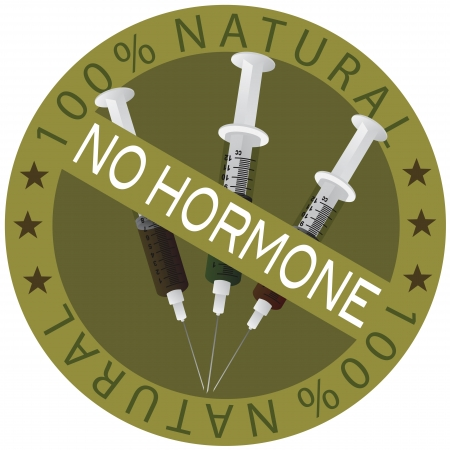 No Hormone 100% Natural Food Label Illustration Isolated on White Background