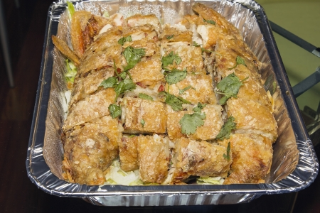 Chinese Deep Fried Whole Chicken Stuffed with Glutinous Rice Sausage Black Mushroom and Cilantro