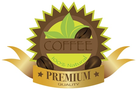 Coffee Beans Premium Quality Label Illustration Isolated on White Background Stock Vector - 17079227