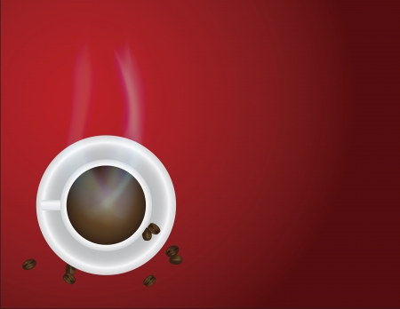 Cup of Hot Coffee with Steam and Beans on Red Background Illustration Stock Vector - 17079226