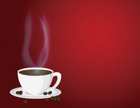 caffe: Cup of Steaming Hot Coffee with Steam and Beans on Red Background Illustration