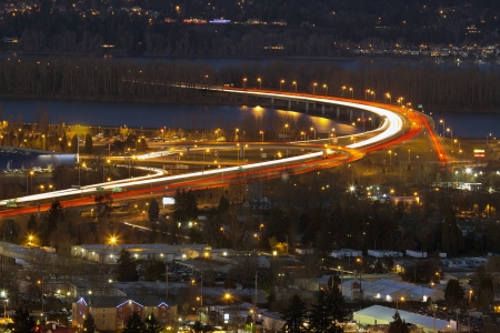 interstate: Interstate Freeway I-205 Over Columbia River Between Washington and Oregon State at Blue Hour