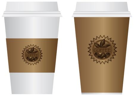 tazas de cafe: Hot Coffee To Go desechables Vasos con tapas de manga y etiqueta aislados en fondo blanco Ilustración Vectores