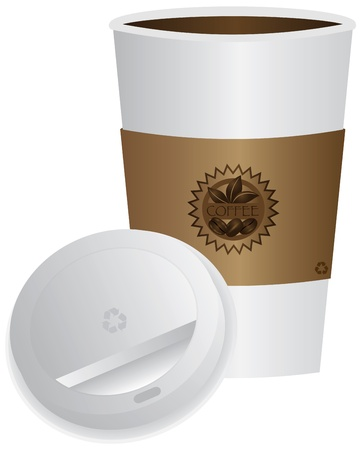 to go cup: Coffee To Go Cup with Open Lid and Sleeve Illustration Isolated on White Background
