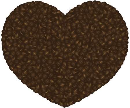 Coffee Beans Pattern in Heart Shape Silhouette Outline Background Illustration Stock Vector - 17114840