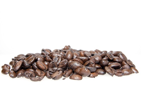 Pile of Roasted Coffee Beans Isolated on White Background Stock Photo - 17155863