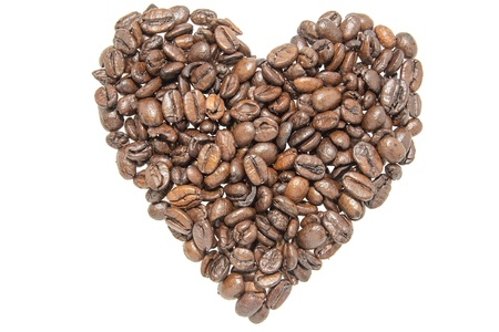 Coffee Beans Forming Heart Shape Outline Silhouette Isolated on White Background Stock Photo - 17155865