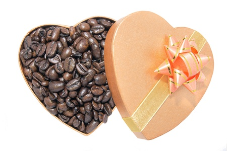 Roasted Coffee Beans in Heart Shaped Gift Box Isolated on White Background Stock Photo - 17155868