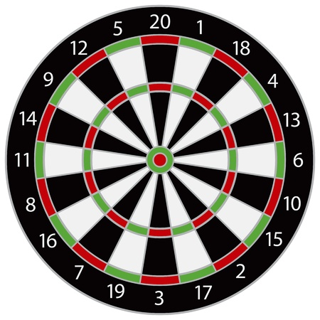 bull rings: Dartboard Illustration Isolated on White Background Illustration