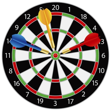 brettspiel: Dartboard mit Dart auf Bullseye Illustration auf wei�em Hintergrund