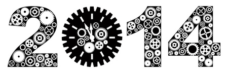 Happy New Year 2014 with Mechanical Gears and Clock Black and White Illustration