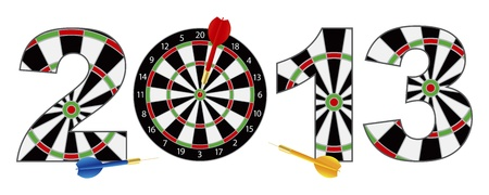2013 Happy New Year Dartboard with Darts on Target Bullseye Illustration Isolated on White Background Stock Vector - 17286041