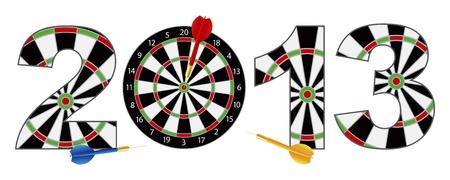 dartboard: 2013 Happy New Year Dartboard with Darts on Target Bullseye Illustration Isolated on White Background Illustration
