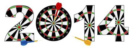 2014 Happy New Year Dartboard with Darts on Target Bullseye Illustration Isolated on White Background