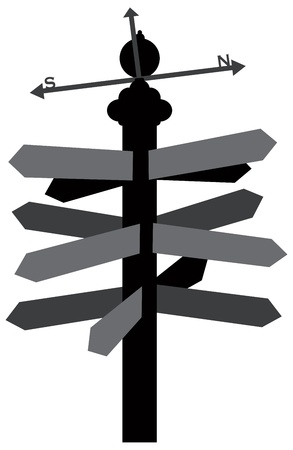 weather vane: Direction Signs With Weather Vane Outline Silhouette Illustration