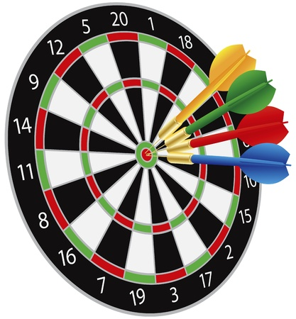 Dartboard with Darts Hitting on Target Bullseye Illustration Isolated on White Background Vector
