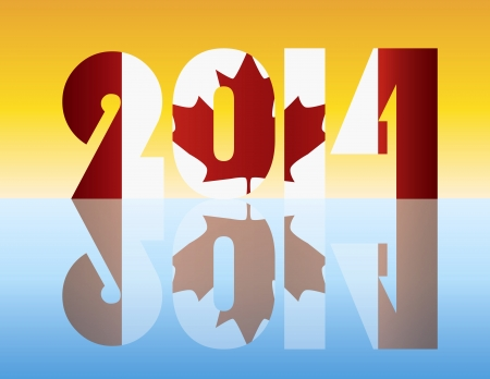 Happy New Year 2014 Silhouette with Canada Flag Illustration Stock Vector - 17324439