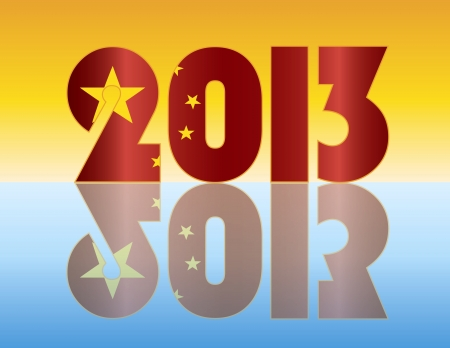 the republic of china: Happy New Year 2013 Silhouette with Peoples Republic of China Flag Illustration Illustration