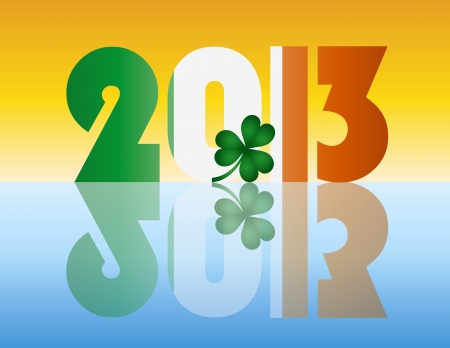 Happy New Year Ireland 2013 Flag Silhouette with Irish Shamrock Leaf Illustration Stock Vector - 17324436