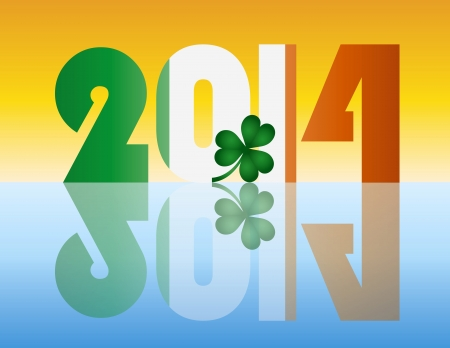 Happy New Year Ireland 2014 Flag Silhouette with Irish Shamrock Leaf Illustration Stock Vector - 17324440