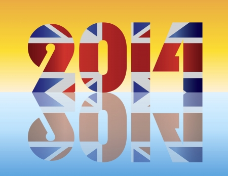 festive occasions: Happy New Year London England 2014 SIlhouette with Union Jack Flag Illustration
