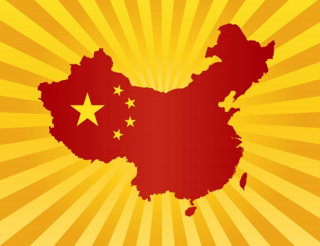 the republic of china: Peoples Republic of China Flag in Country Map Silhouette on Sun Rays Background Illustration