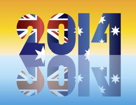 Happy New Year 2014 Silhouette with Australia Flag Illustration Stock Vector - 17324493