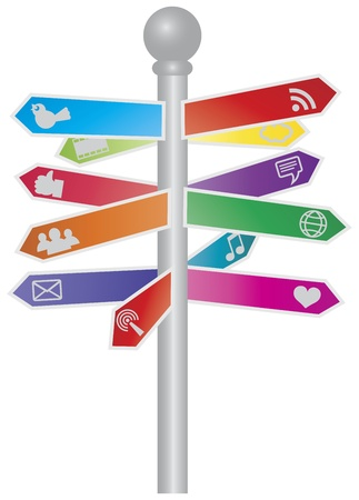 Direction Signs with Colorful Pointing Arrows of Social Media Icons Illustration Vector