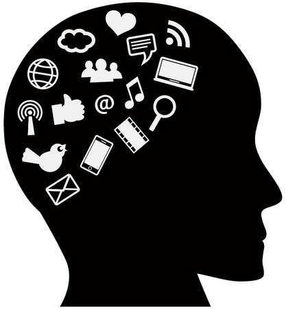 wireless signal: Human Head Silhouette with Social Media Internet Icons Illustration Isolated on White Background Illustration
