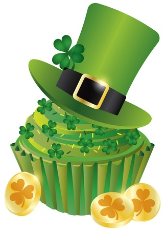 St Patricks Day Irish Leprechaun Hat with Shamrock Leaf on Cupcake and Gold Coins Illustration Isolated on White Background Vector