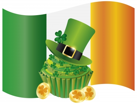 Ireland Flag with Leprechaun Hat Gold Coins Cupcake and Shamrock Isolated on White Background Illustration