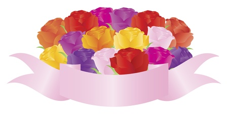 special occasion: Bouquet Bunch of Colorful Roses with Banner Illustration Isolated on White Background Illustration