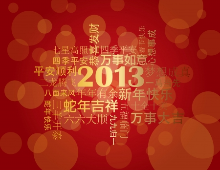 lunar new year: 2013 Chinese Lunar New Year Greetings Text Wishing Health Good Fortune Prosperity Happiness in the Year of the Snake on Red Background Illustration Illustration