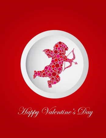 Happy Valentines Day Love Cupid with Bow and Arrow Silhouette Filled with Pink and Red Polka Dots Greeting Card Illustration Stock Vector - 17432334