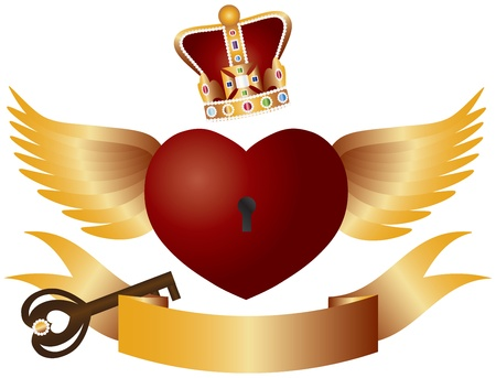 king and queen of hearts: Flying Red Heart with Crown Jewels Wings Banner and Key Illustration