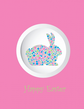 greeting: Easter Bunny Rabbit Silhouette in Pastel Colors Polka Dots Greeting Card Illustration Isolated on White Background