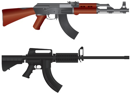 trigger: Assault Rifles AR 15  and AK 47 Semi Automatic Weapons Illustration Isolated on White Background