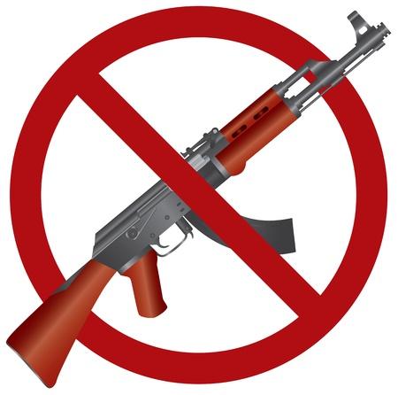 Assault Rifle AK 47 Gun Ban Symbol Isolated on White Background Illustration