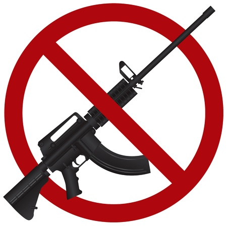 ar: Assault Rifle AR 15 Gun Ban Symbol Isolated on White Background Illustration