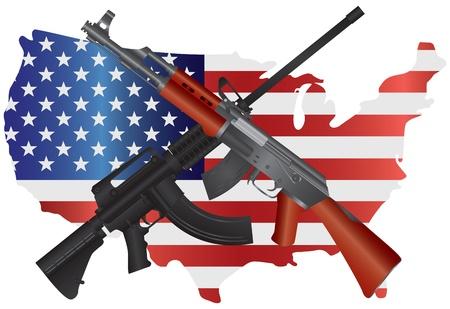 Rifles de asalto AR 15 y AK 47 armas semi automáticas en EE.UU. ilustración Bandera Mapa Segunda Consitution Enmiendas Ilustración de vector