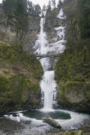 snow falls: Multnomah Falls in Columbia River Gorge in Winter
