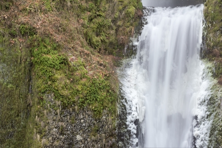 lower section: Multnomah Falls in Columbia River Gorge in Winter Lower Section Closeup